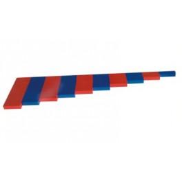 Montessori Premium : Barres des nombres rouges et bleues en hêtre