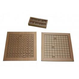 Table de 100 avec carte en bois