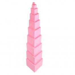 Montessori Premium : La tour rose en hêtre