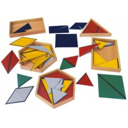 Montessori PREMIUM Les triangles constructeurs avec 5 boites