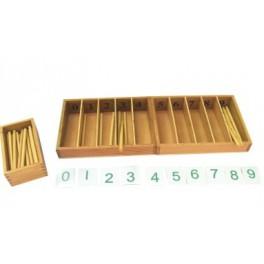 Montessori PREMIUM : Boîte à fuseaux avec 45 fuseaux