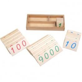 Montessori PREMIUM: Petites cartes en bois des nombres (1-9000)