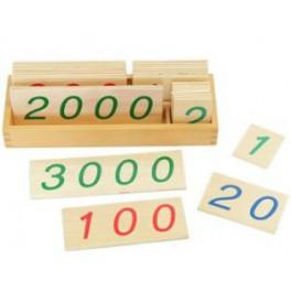 Montessori PREMIUM: Petites cartes en bois des nombres (1-3000)