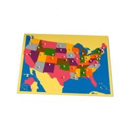Montessori PREMIUM: Puzzle carte des USA