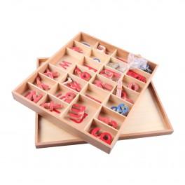 Montessori PREMIUM: Petit alphabet mobile en bois (rouge et bleu)