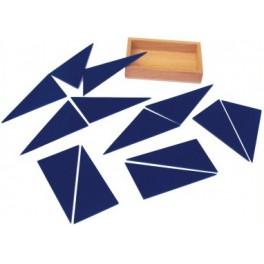 Montessori : Les triangles constructeurs bleus