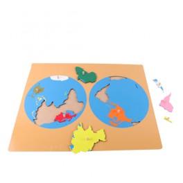 Montessori PREMIUM: Puzzle des cartes des parties du monde